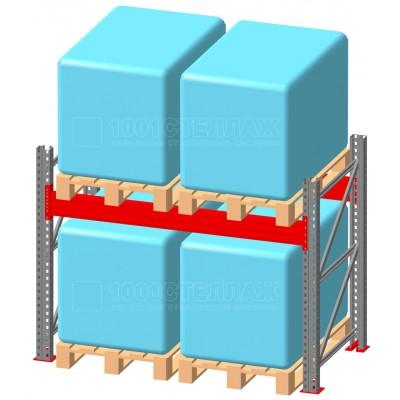 Стеллаж паллетный фронтальный СП 2000(Н)х2200х1100х90х1,5 мм ( на ярус 2 финпаллетыпо 800 кг)