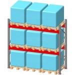 Стеллаж паллетный фронтальный СП 4000(Н)х2700х1100х90х1,5 мм ( на ярус 3 европаллетыпо 1000 кг)
