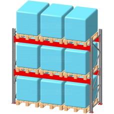 Стеллаж паллетный фронтальный СП 4500(Н)х2700х1100х100х1,5 мм ( на ярус 3 европаллетыпо 1000 кг)