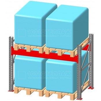 Стеллаж паллетный фронтальный СП 2000(Н)х1800х1100х100х2,0 мм ( на ярус 2 европаллетыпо 1400 кг)