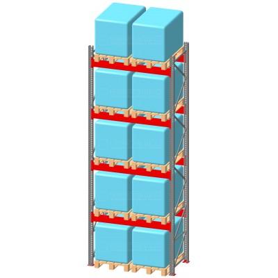 Стеллаж паллетный фронтальный СП 7500(Н)х1800х1100х100х2,0 мм ( на ярус 2 европаллетыпо 1400 кг)