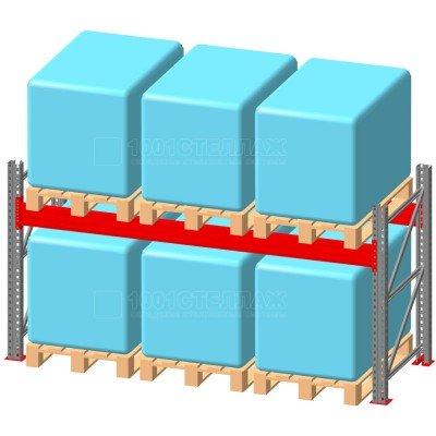 Стеллаж паллетный фронтальный СП 2000(Н)х3300х1100х90х1,5 мм ( на ярус 3 финпаллетыпо 1000 кг)