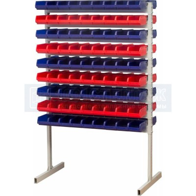 Двухсторонний стеллаж для метизов 1500х750 с ящиками серии 5001