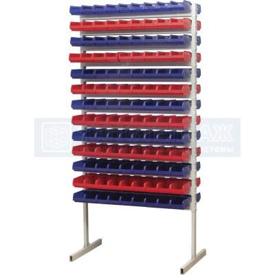 Двухсторонний стеллаж для метизов 2000х750 с ящиками серии 5001