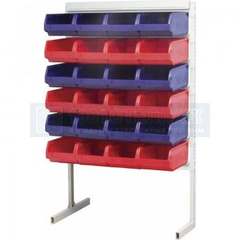 Односторонний стеллаж для метизов 1500х750 с ящиками серии 5003