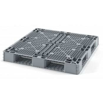 """Лёгкий перфорированный пластиковый поддон для """"биг-бэгов"""" 1050х1050х120 мм на трёх полозьях, серый"""