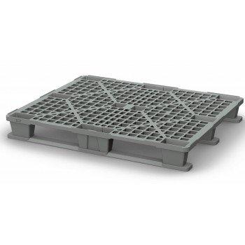 Легкий перфорированный пластиковый поддон на двух полозьях 1000х1200х150 мм, серый