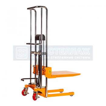 Штабелер гидравлический ручной SMART PJ 4150 (г/п 400 кг, в/п 1500 мм, с фиксированными вилами 640х540 мм и площадкой)
