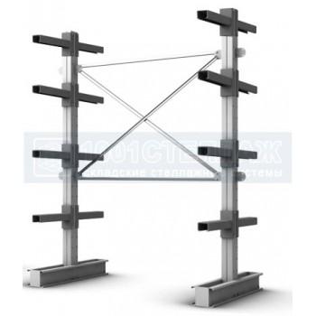 Стеллаж консольный двухсторонний СК 2500х1000х1500(600) - 4 яруса консолей(130 кг на консоль)