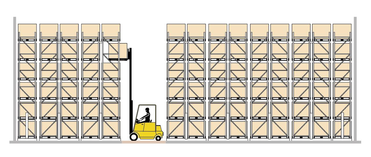 Схема передвижных паллетных стеллажей